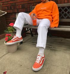 Supreme Orange Box Logo Crewneck || Goyard VANS Old Skool Custom