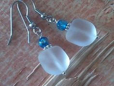 Hand Crafted Chunky White Sea Glass Earrings 316L Surgical Steel BEACH WEDDING #SeaGlassSUNSHINEdesign #DropDangle