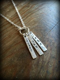Triple Bar Handstamped Mother's Necklace by SilverLush on Etsy, $46.00