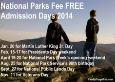 Pin this to remember all of the FREE dates that you can get into National Parks in the United States.