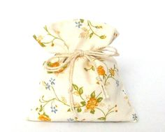 the Yellow Roses - 100 Favor Bags - Tie String Decor Pouch - Yellow Roses - Floral Gift Bags - Floral Cotton Bags - Handmade Gift for Guests