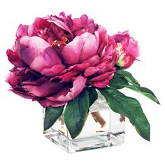 Create an elegant tablescape or a charming vignette with this lovely faux peony arrangement, showcasing lush blossoms nestled in a timeless glass vase.