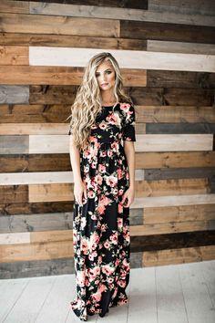 Brooke Black Rose Maxi