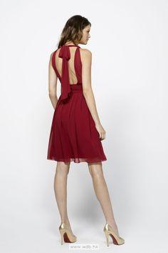 Halter neck with sexy back chiffon bridesmaid dress $103.6