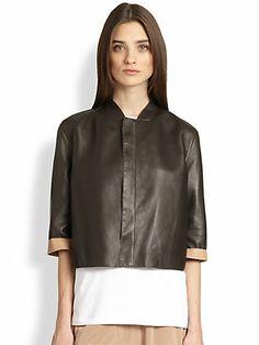 Brunello Cucinelli - Reversible Cropped Leather Jacket - Saks.com