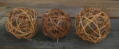 Qty 3 Natural Grapevine Twig Balls Rustic by weddingbridaldecor