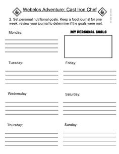 Webelos Food Journal Template | Food Journal, Iron Chef and Journals