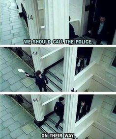 Love Sherlock haha ~ tv show funny Sherlock Holmes John Watson Benedict Cumberbatch Martin Freeman ~