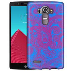 LG G4 Paisley Pink on Cyan Blue Slim Case