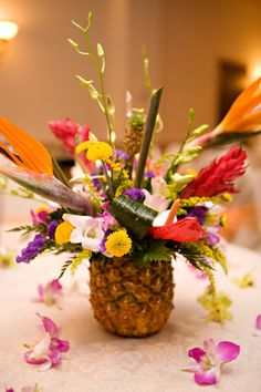 Pineapple Centerpiece Ideas Wedding | First Class Maui Wedding - Fruit Infused Weddings
