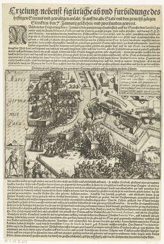 Anonymous | Bestorming van Oostende, 1602, Anonymous, 1602 - 1604 | Zware bestorming van de verdedigingswerken van Oostende door de Spaanse troepen onder Albrecht, 7 januari 1602. Linksonder een inzet met een een plaatje van een vrouwelijke Spaanse soldaat die bij de gevechten betrokken was, rechtsboven een cartouche met opschrift in het Latijn. Gedrukt op een blad met teksten in het Duits, onder en boven de voorstelling. Genummerd: No. 3.