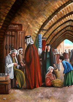 "Iraqi market ""Souq"" painting by artist Nadia Osi"