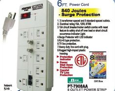 8 OUTLET SURGE PROTECTOR / POWER STRIP RJ-45 PROTECTION  - 6ft CORD / 840 JOULES