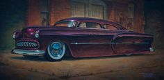"Keith Weesner - ""Hooligan"" Commissioned '54 Chevy- acrylic on plywood 12""x25"""