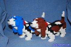 lego sculptures | LEGO Dog Sculptures: Basset Hounds
