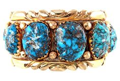Sterling Zuni Cuff w/ 14K Gold Overlay w/ rare Bisbee Turquoise by Ruby + George on @One Kings Lane