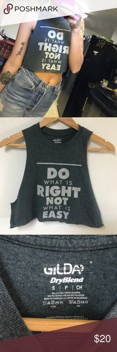 Reworked vintage tee muscle crop top Really great message. Pretty short so it's really cute with mom jeans! Feel free to ask questions!   No trades. I ship the same or next day. Items come from a smoke free, cat friendly home in California.   Tags: vintage, 90s, baggy, retro, grunge, destroyed, distressed, positive, relevant, political, feminism, vegan, positivity, good vibes, urban renewal, up cycled, one of a kind, urban Vintage Tops Crop Tops