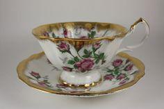 Vintage 1959-1966 Queen Anne Pink Roses Teacup & Saucer Fine Bone China England