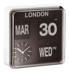 From Habitat. Need a huge wall clock. Get one, 3 or even 5 and have them of multiple time zones. If multiple time zones, a simpler clock may be better. This would be repetitive. But gorgeous clock.