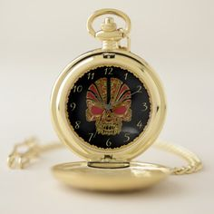 Gold and red sugar skull cranium design 4 pocket watch - red gifts color style cyo diy personalize unique
