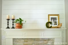 """Bedroom fireplace?  Looks kind of like a Fixer Upper """"shiplap"""" fireplace.  Fireplace makeover plank wall tutorial, fireplaces mantels, wall decor, woodworking projects"""