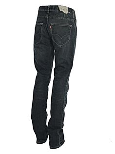Levi's Men's Jeans 513 Skinny Leg Fitting Dark Distressed Button Fly denims with engraved studs and buttons and have been styled out of Europe very trendy. Waist 32 - Leg Length - 32 Inches - Hem Width 7 Inches  www.puckerclothinguk.com