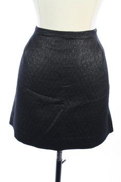 J. CREW Black METALLIC SILK Blend MINI STRAIGHT Pencil Dress SKIRT M 8