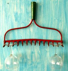 Redneck Wine Glass Holder -- Dog leash holder -- necklace organizer --  Old Rusty crusty rake head for upcycle and decorative use. $10.95, via Etsy.