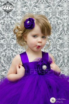 Royal Purple Flower Girl Tutu Dress van FrillyFairyTales op Etsy