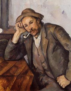 Smoker Artist: Paul Cezanne Completion Date: 1892 Style: Post-Impressionism Period: Final period Genre: portrait Technique: oil Material: canvas Gallery: Staedtische Kunsthalle Mannheim, Germany