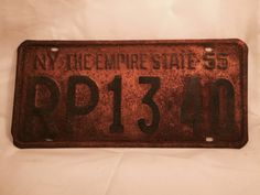 Antique New York NY License Plate 1955 The by DSalCodaDesign