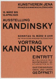 Walter Dexel, announcement card for the Kandinsky exhibition and lecture at the Kunstverein Jena, 1925 Graphic Design Pattern, Modern Graphic Design, Graphic Design Typography, Branding Design, Print Design, Typography Letters, Typography Poster, Jena, Identity