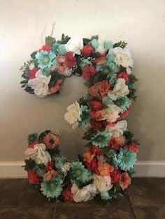 Flowered three. Young wild and three party. Coral mint and white birthday