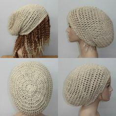 Hemp Wool natural cream slouchy beanie dreadlock hippie tam hat