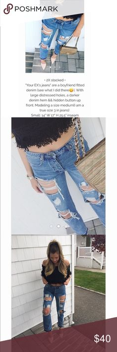 """Your Ex's jeans • 2X stocked •""""Your EX's jeans"""" are a boyfriend fitted denim {see what I did there😋}. With large distressed holes, a darker denim hem && hidden button up front. Modeling a size medium{I am a true size 3 in jeans} Small: 14"""" W 17"""" H 25.5"""" inseam Jeans Boyfriend"""