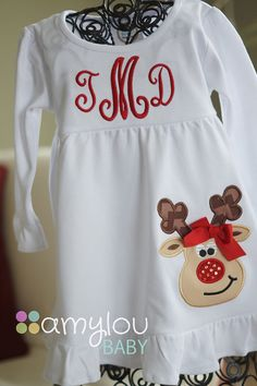 White Ruffle Monogram Dress with Rudolph Reindeer by amyloubaby