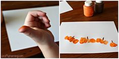 """Make thumbprint pumpkins with your kids for a fun fall craft. All you need is paint and title the art project """"My thumbkin patch"""""""
