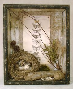 Wonderful Mixed Media Elements of Nature Nest Assemblage in Wooden Box Shadow Box Kunst, Shadow Box Art, Bird Nest Craft, Bird Nests, Deco Nature, Elements Of Nature, Assemblage Art, Nature Crafts, Spring Crafts
