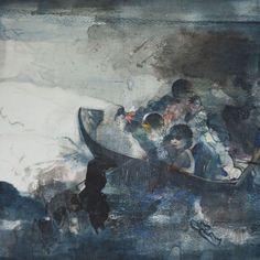 Πέρασμα, 2016, μελάνι και ακρυλικό σε ρυζόχαρτο μαρουφλαρισμένο σε καμβά, 130 x 130 εκ. Samos, Painting, How To Paint, Artist, Painting Art, Paintings, Painted Canvas, Drawings