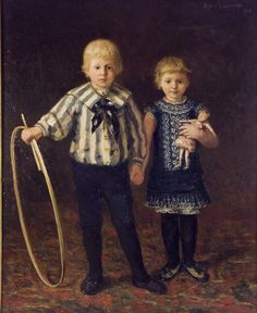 Portrait of boy and girl with hoop and doll by Willem Adriaan Alexander Liernur, Deventer Musea, CC BY-SA Family Units, Portrait Illustration, Vintage Children, Body Painting, Girl Dolls, Art History, Boy Or Girl, Childhood, Games