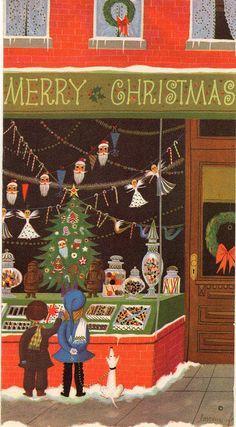 shop-window | by profkaren Vintage Christmas Cards, Retro Christmas, Vintage Holiday, Christmas Greeting Cards, Christmas Greetings, Mery Crismas, Christmas Mood, Xmas, Christmas Illustration