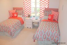 Custom coral and aqua dorm bedding Custom coral and aqua duvets, matching headboards and bold coral chevron window panels.. Extended length bed skirts
