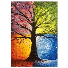 Simple Oil Painting, Easy Canvas Painting, Simple Acrylic Paintings, Diy Canvas Art, Easy Paintings, Diy Painting, Tree Paintings, Painting Steps, Autumn Painting