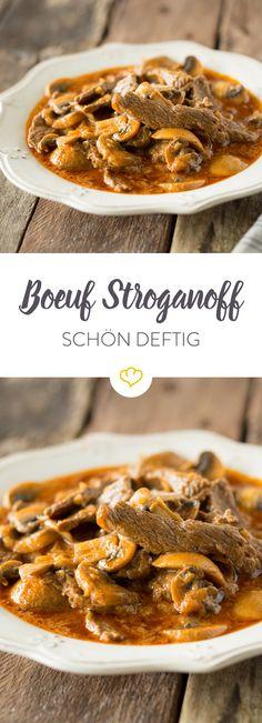 Boef Stroganoff leicht abgewandelt: Ein herzhaft-deftiges Schlemmergericht mit Steakstreifen, Champignons und Crème fraîche.