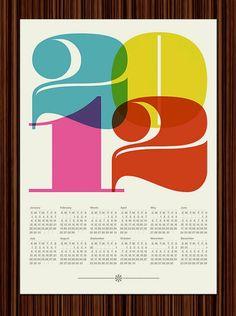 54a1fd9d5b11c2 Items similar to Kitchen art Calendar poster print 2012 Mid Century Modern  retro typography retro vintage kitchen art office - Large 50 x 70 cm on Etsy