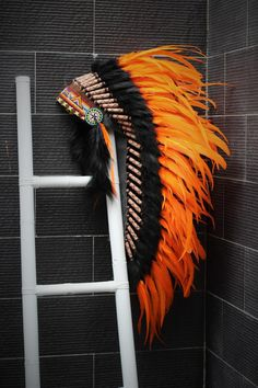 Indian Native Medium Orange Feather Headdress (36 inch long )/ war bonnet. by theworldoffeathers. Explore more products on http://theworldoffeathers.etsy.com