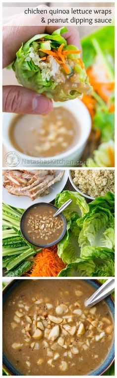 Asian chicken lettuce wraps with quinoa and peanut dipping sauce.