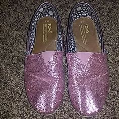Pink glitter TOMS Nice Toms, great shape for used Toms. Very clean. You would love them. Check out all my other TONS and items, I do bundle ;) TOMS Shoes Flats & Loafers