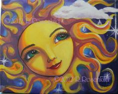 Sun face painting Celestial goddess art Original 11 x 14 inches whimsical decor CaaT. $75.00, via Etsy.