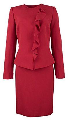 62bff3aacae2 Tahari ASL Womens Zackary Peplum Cascade Ruffle Skirt Suit Skirt Suit,  Polyester Spandex, Suits